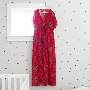 Red Aztec Maxi Dress - Size Large